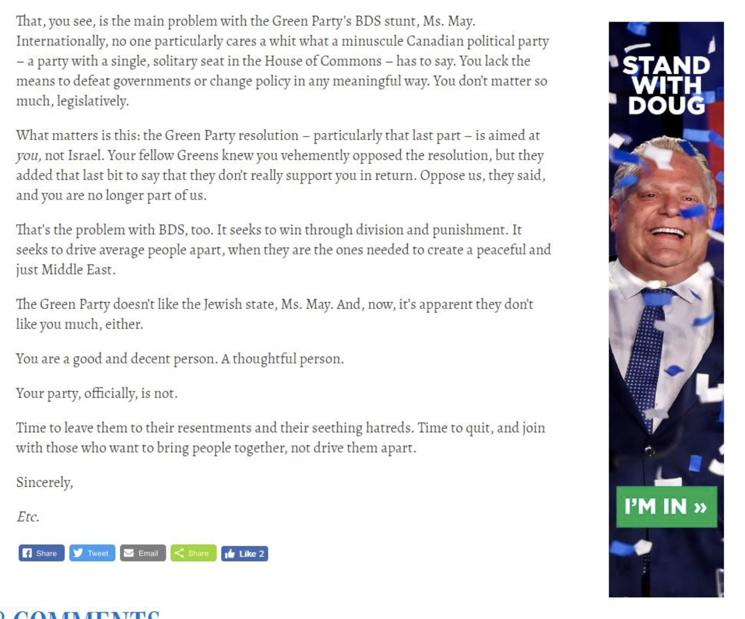 Rob Ford ad & Kinsella Letter to HT