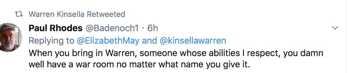 WK retweets war room comment
